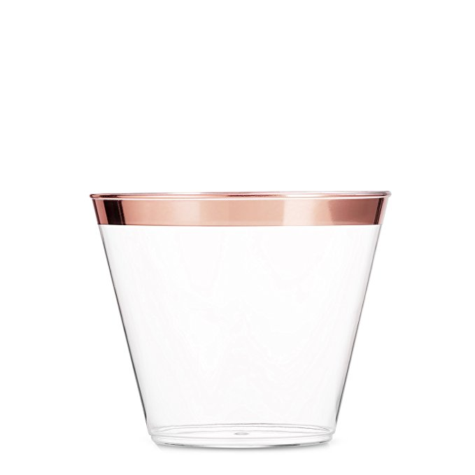 9oz Clear Plastic <strong>Cups</strong> with Rose Gold Rim