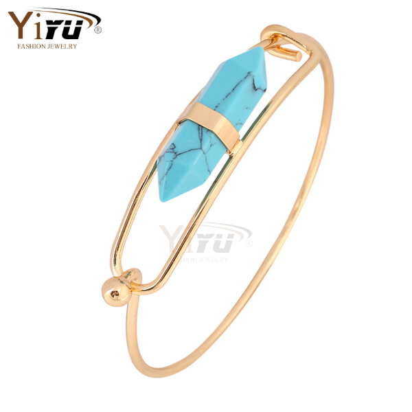 Fashion Jewelry natural Rhinestone stone turquoise point bangle 18K gold bangle