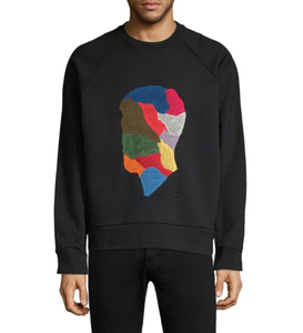 OEM Oversized Cotton Sweatshirt With Colorful Embroidered Men Face Design Long Sleeves Crewneck Sweatshirt