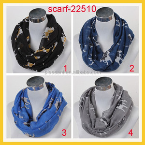 Women Scarf Dog Printing Scarf Animal Scarf