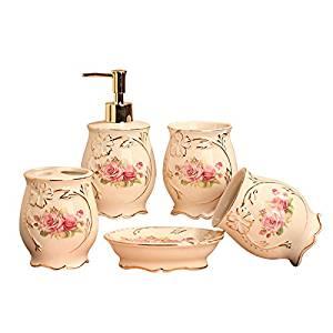 Ceramic wash sets fashion creative bathroom supplies wedding gifts bathroom five European