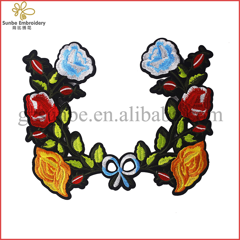 Multicolor Flower Leaves Iron On Patch Embroidered Lace Fabric Motif Applique Costumes Craft Sewing Supplies can be customized