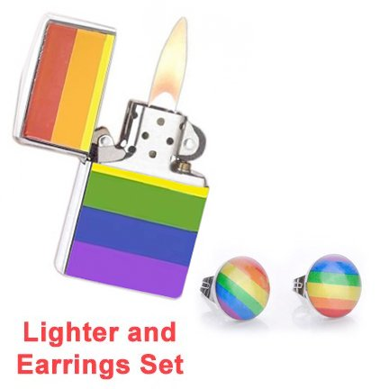 LGBT Gay and Lesbian Pride Rainbow Lighter w/ Stud Earrings SET - (Fluid Sold Separately) - (Fluid Sold Separately) (Rainbow Lighter & Stud Earrings) LGBT Pride. (Rainbow Lighter & Stud Earrings)