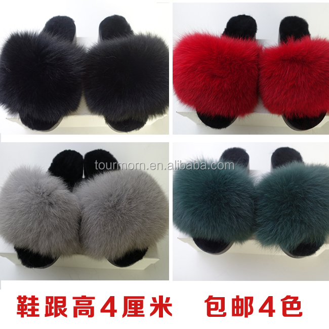 fox fur slipper rabit fur/mink fur girl sandle women wedge heel bedroom slipper