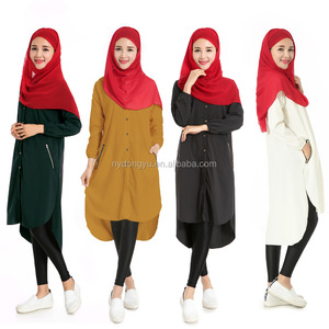 muslim women two way stretch shirt islamic gorgeous long sleeve shirt