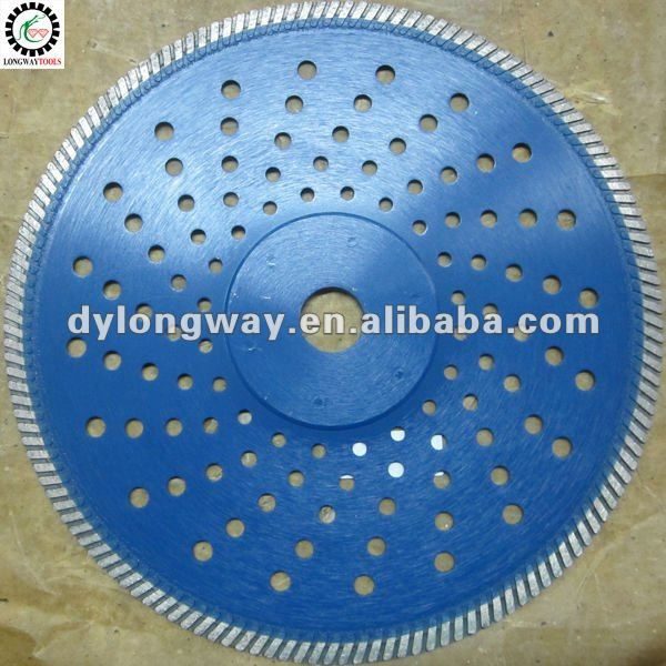 "250mm,10"" diamond saw blade, circular saw blade,power tool accessories,hot pressed fine turbo with many holes and iron sticker"