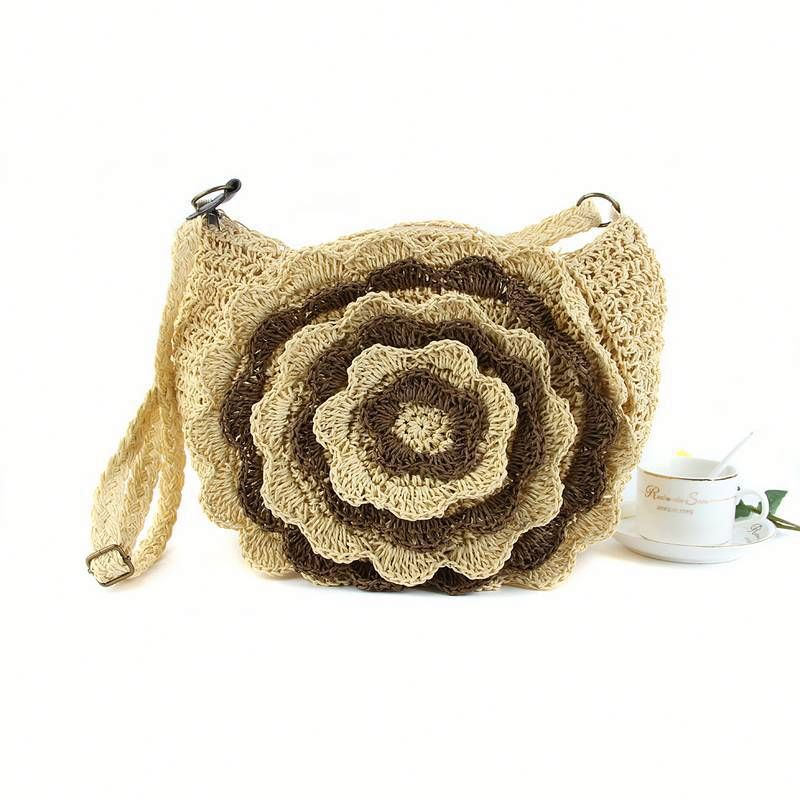 Cute Palm Shape Natural Rattan Handbag