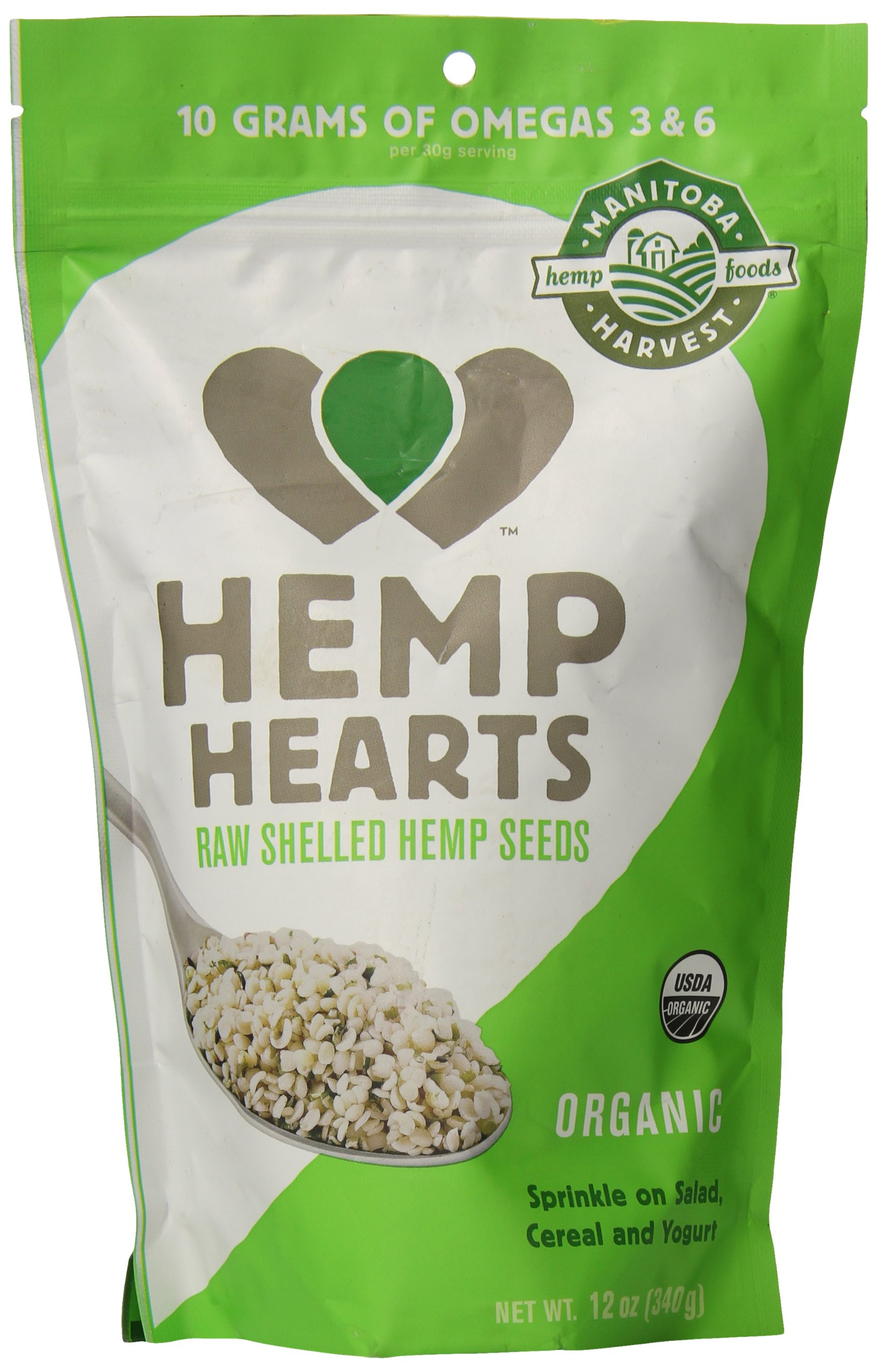 Manitoba Harvest Organic Hemp Hearts Raw Shelled Hemp Seeds, 12oz; with 10g of Protein & Omegas per Serving