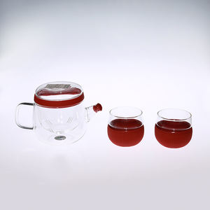 Anti-scalding silicone sleeve cup floral clear glass tea set