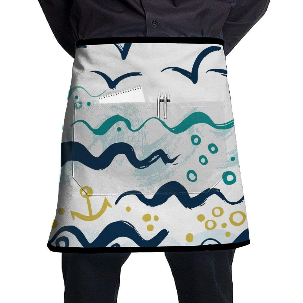 Bakers Apron, Waitress Artist Apron With Pocket, Kitchen Aprons For Chef, Kitchen Accessories, Seagull Waves Anchor Ocean