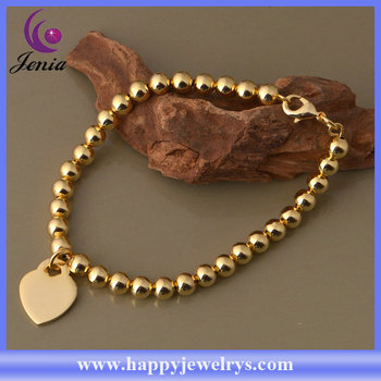 Beautiful Beads Bracelet With Heart Charms Rose Gold Plated Silver Ab295