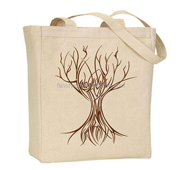 Beautiful printing 100% recycled cotton tote shopping bag