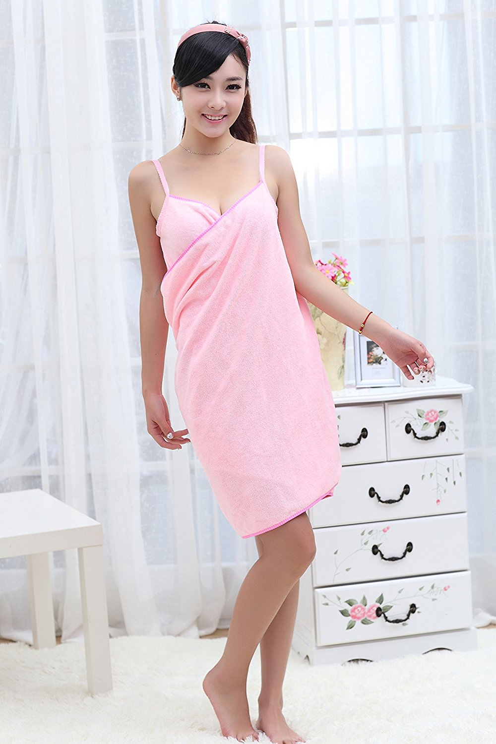 Microfiber Soft Shoulder Straps Wearable Bath Towel Beach Cloth Beach Spa Bathrobes Bath Skirt Pink 59 x 27.5