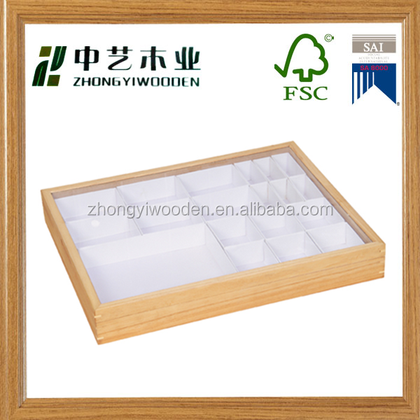 Trade assurance high quality custom factory supply wooden jewelry ring earring display tray wholesale