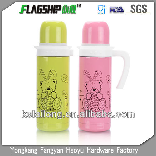 Cartoon stainless steel vacuum flask beverage children pot with handle
