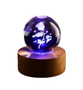Crystal souvenir custom style 3d laser rose crystal ball music box