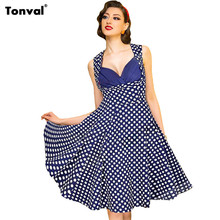 Tonval S – 4XL Women Dots Vintage 50s Dress Summer Tunic Sexy Evening Party Elegant Rockabilly Floral Swing Plus Size Dresses