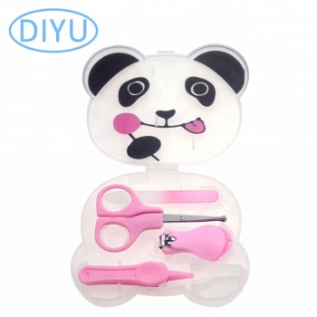 free sample 2019 new professional 4pcs panda baby grooming kit manicure set In stock
