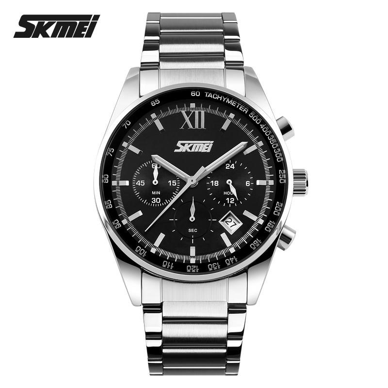 SKMEI 9096 Men Quartz Movement Watch Stainless Steel Back Multifunction Band Auto Date Male Wristwatch фото