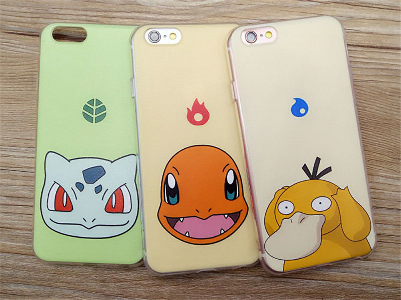 Hot ! 2016 NewPokemon go Mobile shell phone silicone Shell Mobile Game Pokemon case For iPhone 6 5 5S 6S Plus