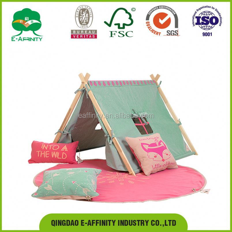 JG-SR-007 2017 new model design good-quality fashionable pine wood adult single beds Play Tent Forest Ranger bed room set