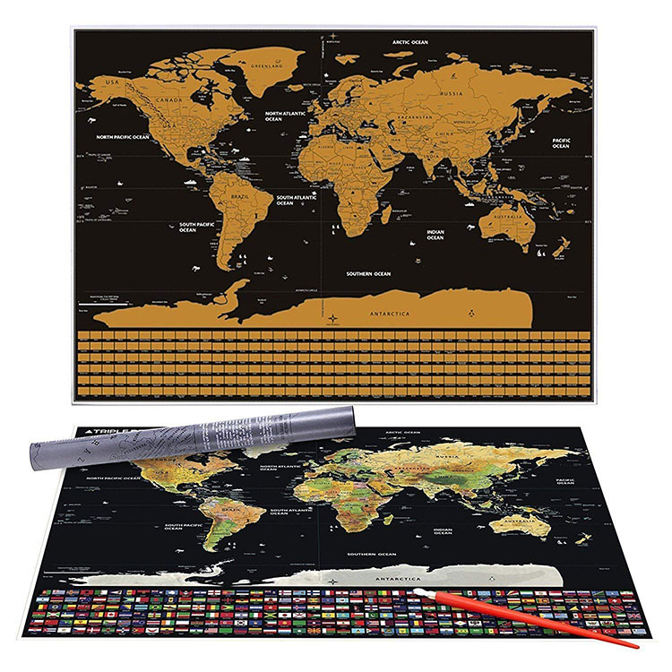 New Product 2018 Luxury Scratch Off World Travel Map Poster Buy