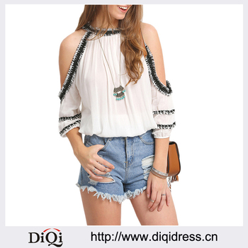 Stylish Woman Summer Off Shoulder Tops Sexy O Neck White Shirt Rayon Tassels Trim Cold Shoulder Blouse Buy Woman Summer Off Shoulder Tops Sexy O Neck White Blouse Rayon Tassels Trim Hem Blouse Product On