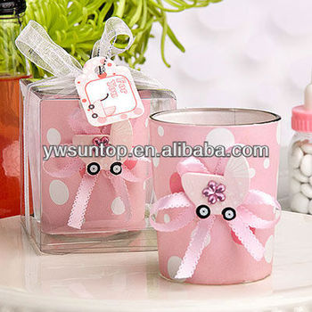 pink glass candle holder girl baby shower souvenir gifts buy baby