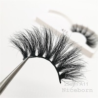 High quality crossing double layered handmade 25mm eyelashes 3d real mink lashes