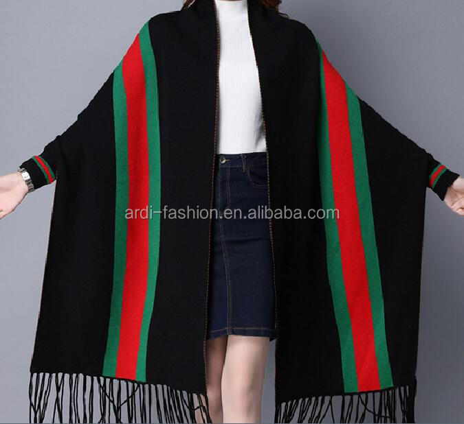 new model women winter viscose wool vertical stripe shawl wrap with sleeves