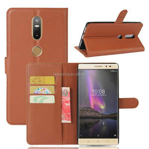 lychee skin wallet PU leather case pouch bag for Lenovo Phab 2 Plus