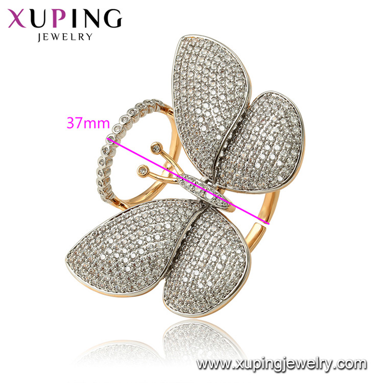 15827 Xuping  Environmental Copper Synthetic CZ 14 gram fashion movable butterfly ring jewelry for women