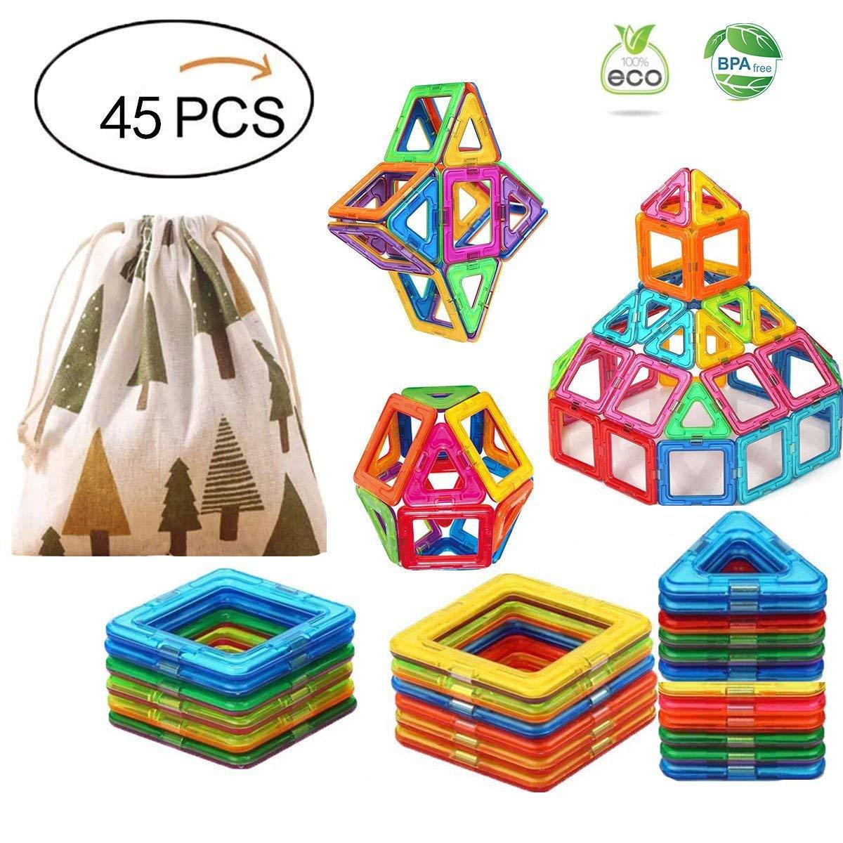 5624e92f1850 Get Quotations · Magnetic Building Blocks 3D Tiles Block Educational Toys  Sets for Kids - 45Pcs