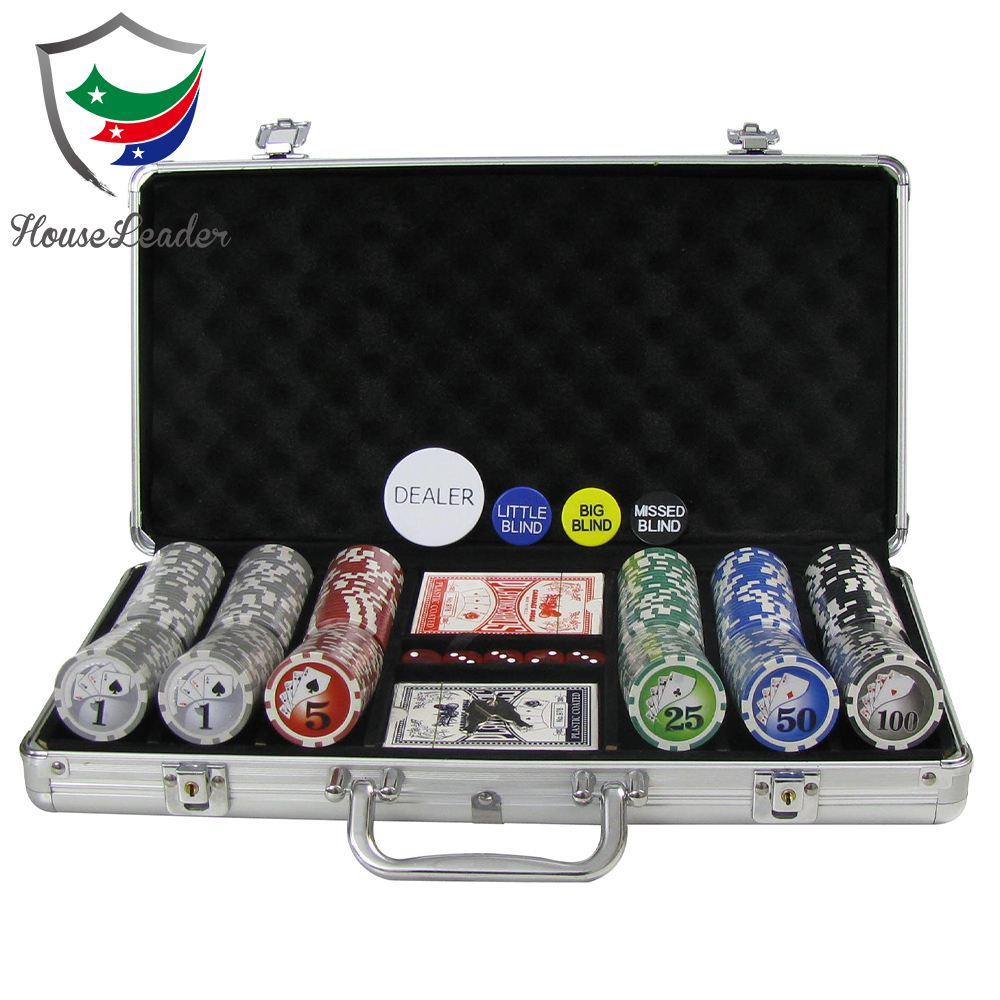 300 stks custom aluminium case poker chip set met aluminium case