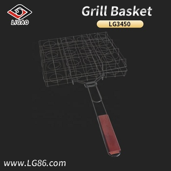 New-designed stainless steel basket for bbq with wooden handle