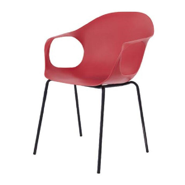 red plastic dining chairs with metal leg for restaurant furniture