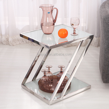 Pas Cher Table De Chevet Moderne En Verre Table De Coin Canape Table