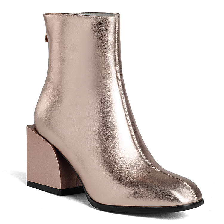 Women block chunky heel metallic cow leather ladies fashion boots