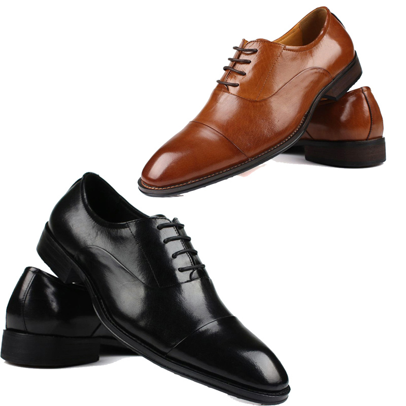 78a0269de8321 Get Quotations · British Style Genuine Leather Men s Oxfords Lace up  Handmade Mens Dress Shoes Italy Business Flat Shoes