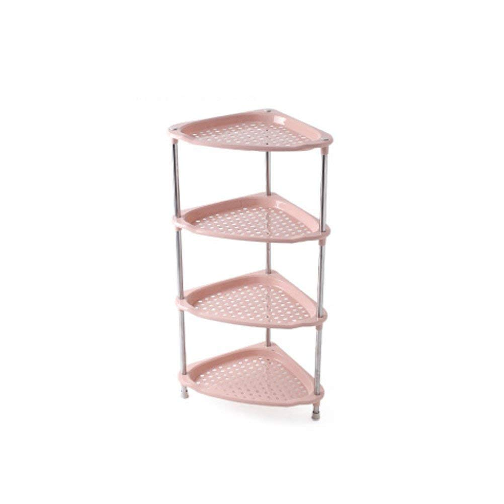 AJZGF Multi-storey bathroom shelf bathroom stainless steel triangular washbasin floor-standing plastic kitchen shelves Shelf (Color : Pink, Size : XL)