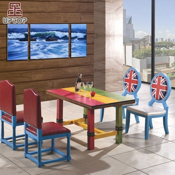 (SP-CT687) 50's old retro design wood restaurant dining tables and chair