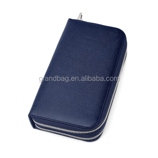 double zip genuine saffiano leather cards purse travel long wallet for men