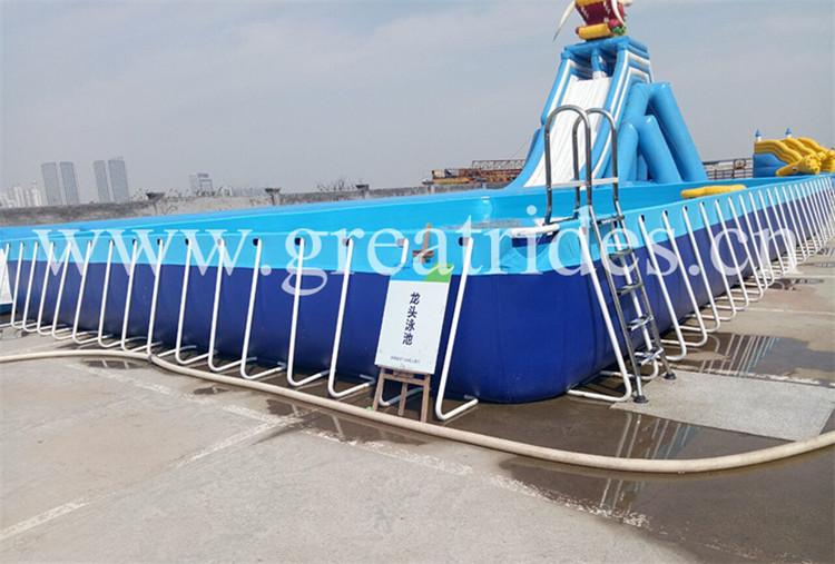 Piscina retangular portátil do quadro do metal do PVC para o parque da água