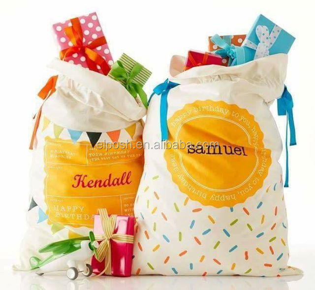 Personalized Monogrammed Canvas Birthday Sacks