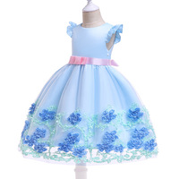 2019 latest designs summer children pretty princess girl floral round neck flying sleeves bow dress for kids