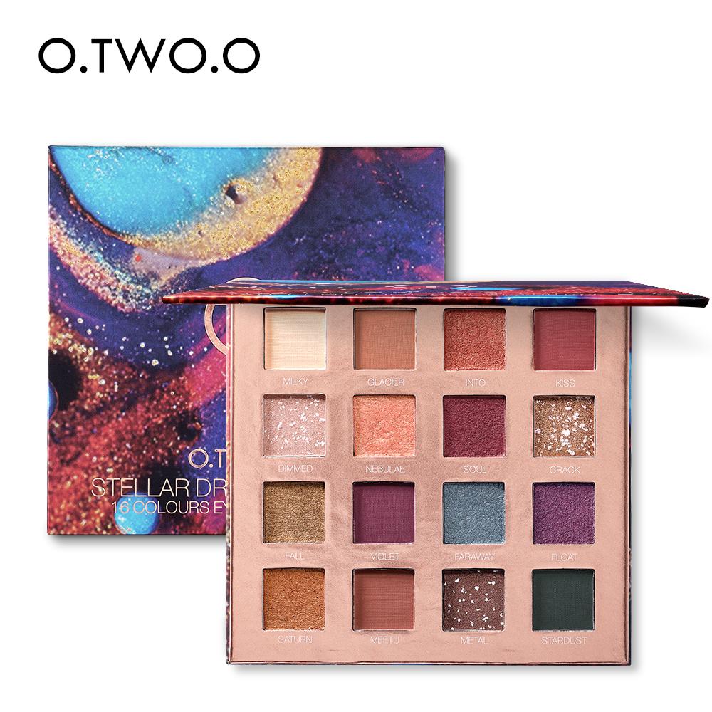 O.TWO.O 16 Colors Palette Eyeshadow Shimmer Eyeshadow Palette Matte Highlighter Eye Shadow Glitter Palette Make Up