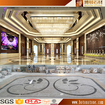 hotel lobby simple flower inlay waterjet marble stone tiles design