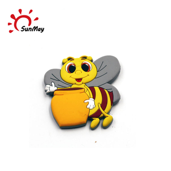 Wholesale bee rubber 3d pvc fridge magnet for sale