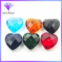 factory price synthetic glass gems , heart glass stone,wholesale glass gems