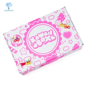 Customizable retail diecut flat pack fancy corrugated kraft packaging kawaii box